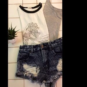 Two tees and denim shorts!